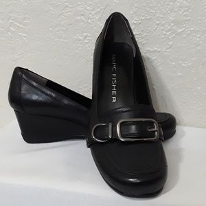 Marc Fisher • Black leather wedge loafer. Size 6